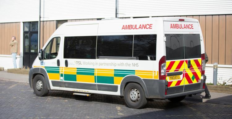 Ambulance parked outside hospital