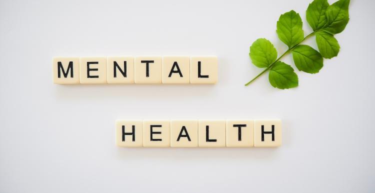 Mental health spelt on scrabble pieces