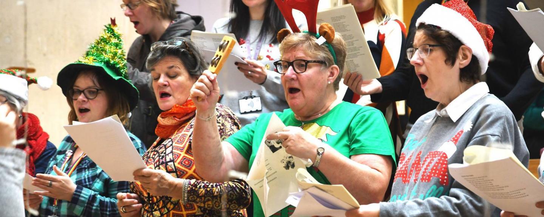 Choir singing dress in christmas hats