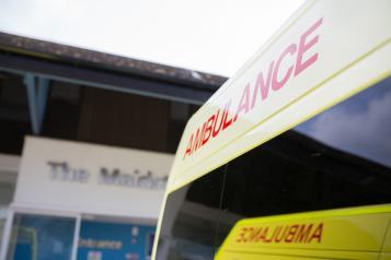 london ambulance parked outside hospital