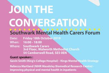 Southwark mental health carers forum flyer