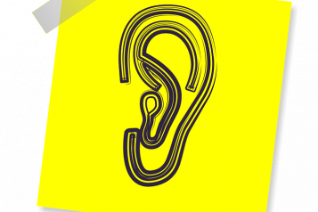 Illustration of an ear, on yellow background
