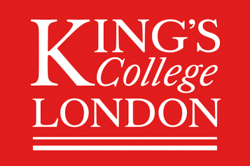 Kings College London logo: red background with white text