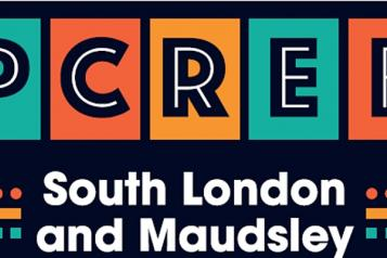 Picture  saying PCREF and South London and Maudsley in a colour for way.