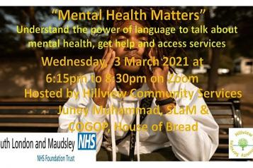 Flyer for event: Understand the power of language to talk about mental health