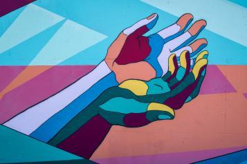 mosaic art hand