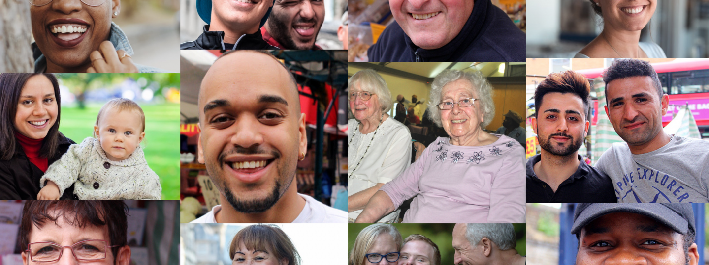 collage of faces from southwark banner