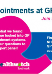 Flyer for GP Access - CCG and Healthwatch Southwark joint event