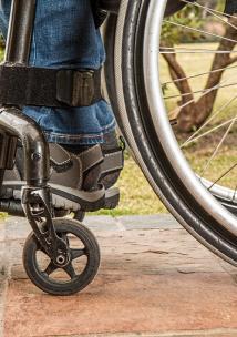 Close up of wheelchair wheel